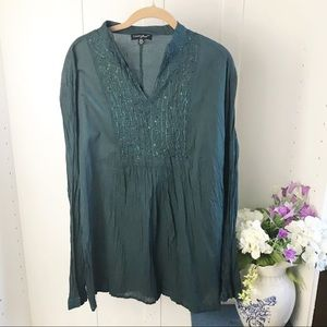Greater Good Hunter Green Embroidered Blouse 3XL